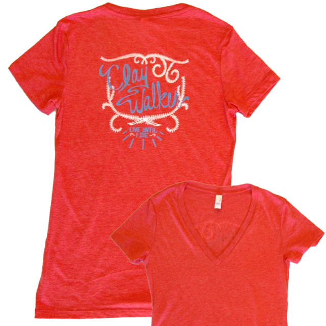 Clay Walker Ladies Heather Red V Neck tee