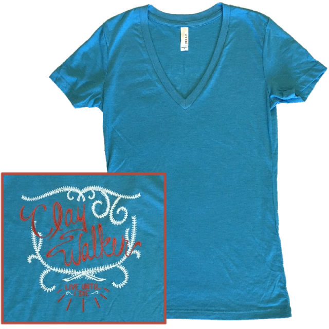 Clay Walker Ladies Aqua V Neck Tee